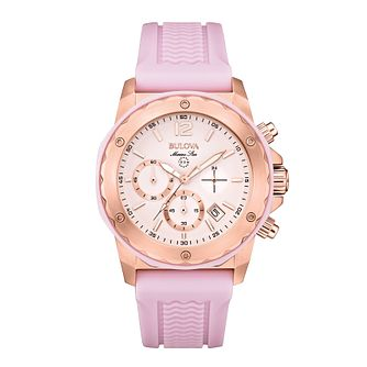 Bulova Marine Star Ladies' Lilac Rubber Strap Watch - Product number 1954814