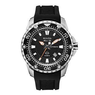 Bulova Marine Star Men's Black Rubber Strap Watch - Product number 1954830