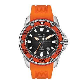 Bulova Marine Star Men's Orange Rubber Strap Watch - Product number 1954849