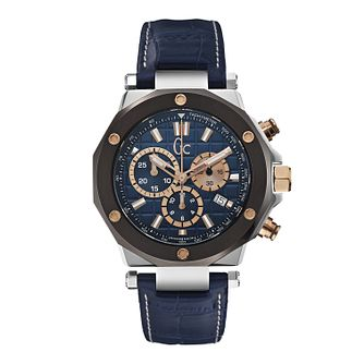 Gc Men's Chronograph Blue Leather Strap Watch - Product number 1957899
