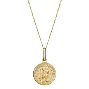 "9ct Gold Tiny St Christopher Protect Us 18"" Pendant - Product number 1961292"