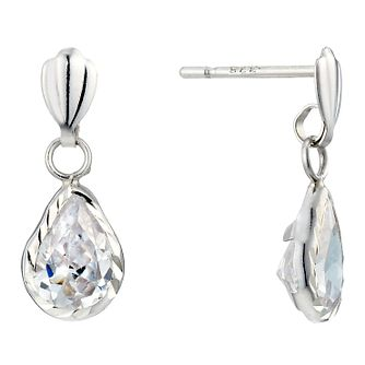 9ct White Gold Diamond Cut Cubic Zirconia Pear Drop Earrings - Product number 1961667