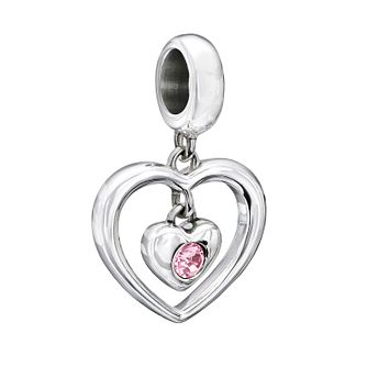 Chamilia Sterling Silver Pink Swarovski Crystal Heart Charm - Product number 1962728
