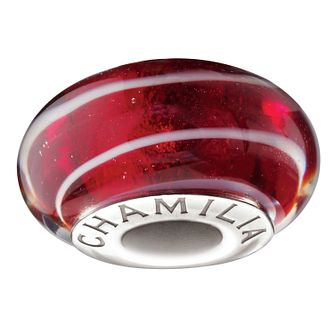 Chamilia Sterling Silver & Murano Glass Red Spiral Bead - Product number 1986457