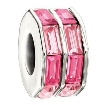 Chamilia Sterling Silver Baguette Cut Pink Crystal Charm - Product number 1986511