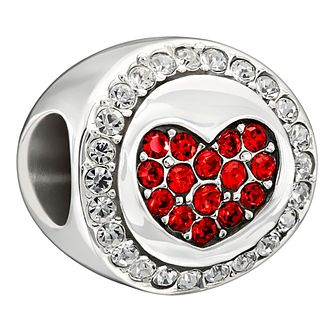 Chamilia Sterling Silver Red & White Stone Set 'Love' Bead - Product number 1987305