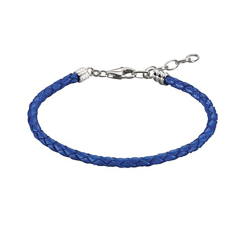 Chamilia Sterling Silver Blue Leather 6.9in Bracelet - Product number 1987410