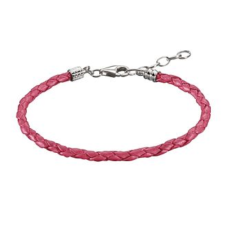 Chamilia Sterling Silver Pink Leather 6.9in Bracelet - Product number 1987429