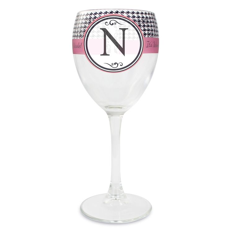 Personalised Wine Glass - Houndstooth Design - Product number 1996630