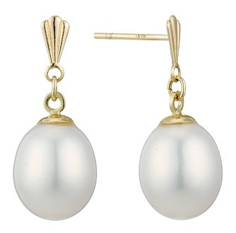 9ct Gold Cultured Freshwater Pearl Drop Earrings - Product number 1999494