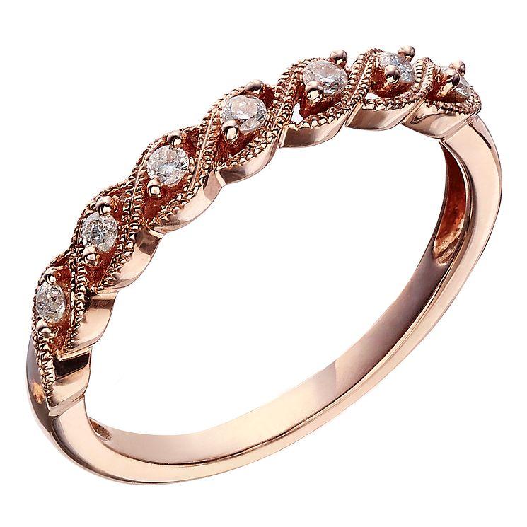 9ct Rose Gold 0 10 Carat Diamond Twist Eternity Ring