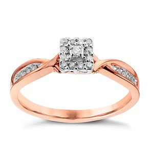 9ct Rose Gold Square Design Diamond Cluster Ring - Product number 2017687