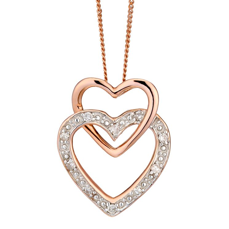 9ct Rose Gold Diamond Set Double Heart Pendant - Product number 2018209