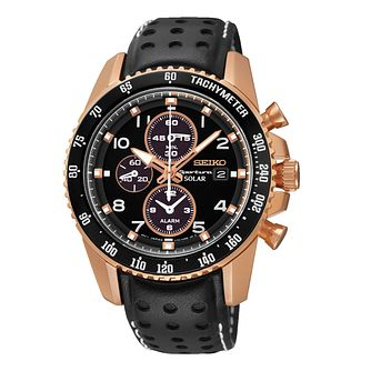 Seiko Sportura Men's Rose Gold-Plated Leather Strap Watch - Product number 2018845