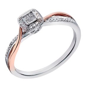 Silver And 9ct Rose Gold Diamond Square Cluster Ring - Product number 2022591
