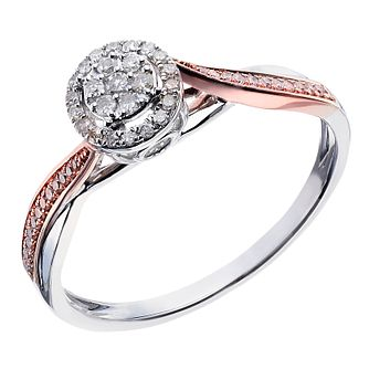 Silver And 9ct Rose Gold Halo Style Diamond Cluster Ring - Product number 2022729