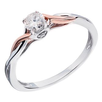 9ct White & Rose Gold Quarter Carat Diamond Solitaire Ring - Product number 2022869