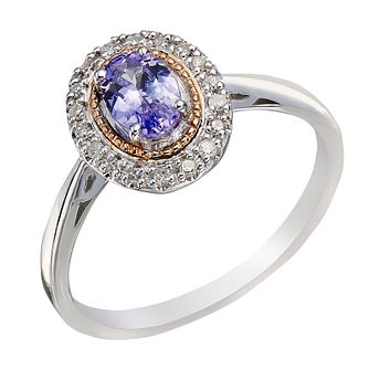 Silver & 9ct Rose Gold Diamond & Tanzanite Ring - Product number 2023245