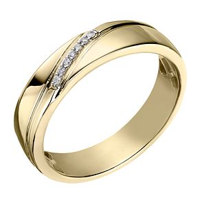 9ct Yellow Gold Men's Diamond Perfect Fit Wedding Ring - Product number 2029022