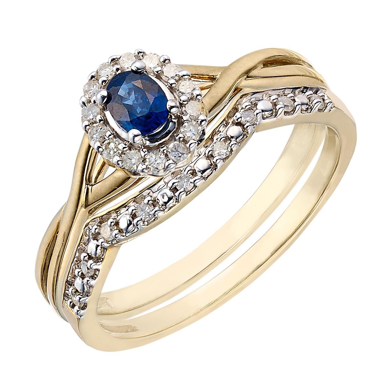 Perfect Fit 9ct Yellow Gold Sapphire Diamond Bridal Set