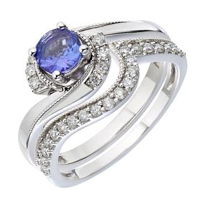 9ct White Gold Diamond & Tanzanite Perfect Fit Bridal Set - Product number 2030780