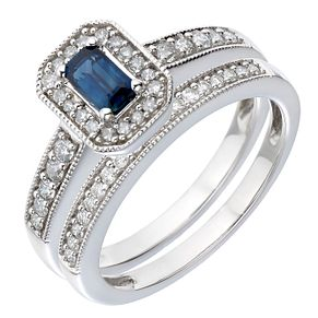 9ct White Gold Diamond & Sapphire Perfect Fit Bridal Set - Product number 2031310