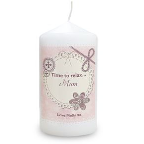 Personalised Candle - Lace & Flowers Design - Product number 2032279