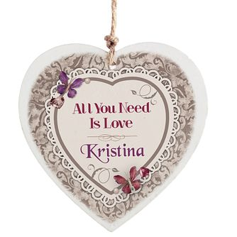 Personalised Wooden Heart Decoration - Butterfly Gem Design - Product number 2033135