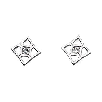 Oliver Weber Rhodium-Plated Square Crystal Stud Earrings - Product number 2049562