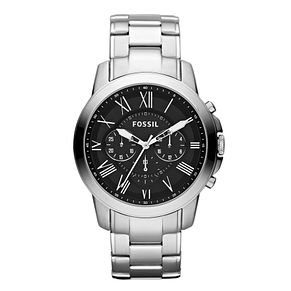 Fossil Grant men's black dial stainless steel bracelet watch - Product number 2051079