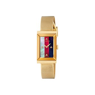 Gucci G-Frame Ladies' Yellow Gold Plated Mesh Bracelet Watch - Product number 2065762