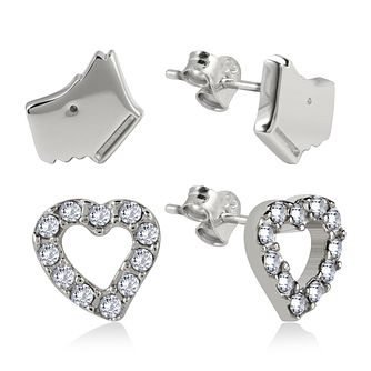 Radley Cubic Zirconia Dog & Heart Silver Stud Earrings - Product number 2080168