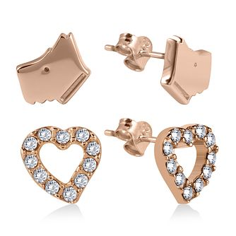 Radley Cubic Zirconia Dog & Heart Rose Gold Stud Earrings - Product number 2080176