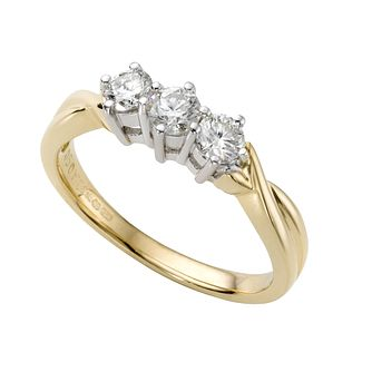 18ct gold 1/2ct diamond three stone ring - Product number 2083876