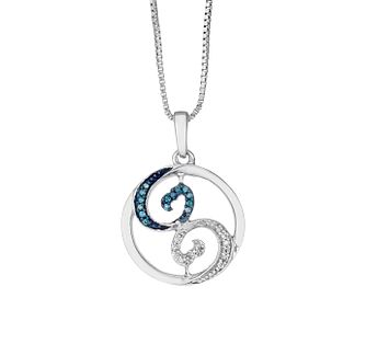 Open Hearts Waves By Jane Seymour Silver & Diamond Pendant - Product number 2148099