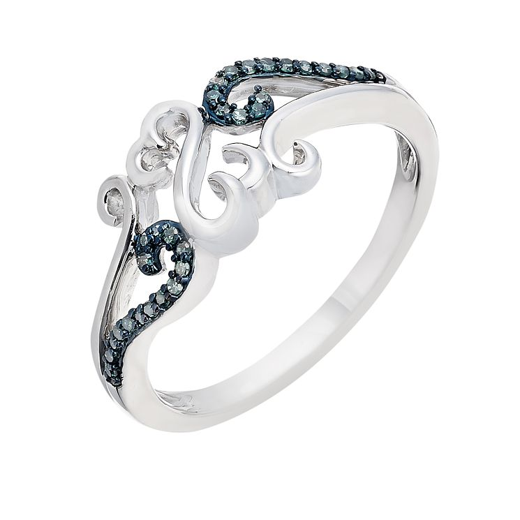 Open Hearts Waves By Jane Seymour Silver & Blue Diamond Ring - Product number 2157101