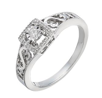 Open Hearts By Jane Seymour Silver Diamond Solitaire Ring - Product number 2157535