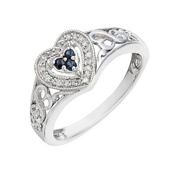 Open Hearts By Jane Seymour Diamond & Sapphire Heart Ring - Product number 2158299