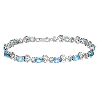 Open Hearts by Jane Seymour Diamond & Blue Topaz Bracelet - Product number 2160870