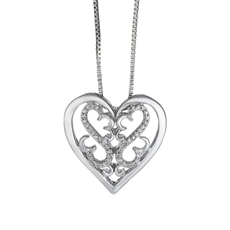 Open Hearts Family  By Jane Seymour Silver & Diamond Pendant - Product number 2161265