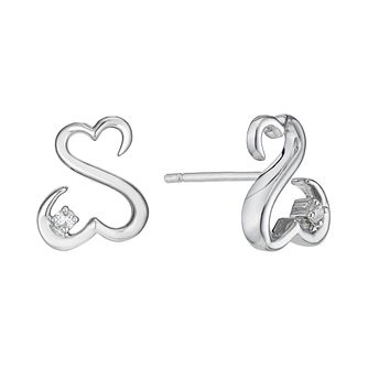 Open Hearts By Jane Seymour Silver & Diamond Stud Earrings - Product number 2161559