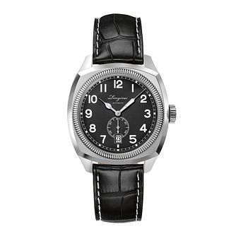 Longines Heritage 1935 men's black leather strap watch - Product number 2162172