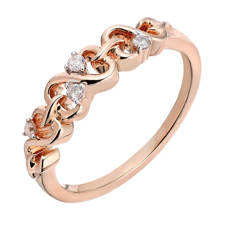 Open Hearts By Jane Seymour 9ct Rose Gold Diamond Ring - Product number 2162393
