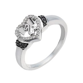 Open Hearts By Jane Seymour Black & White Diamond Heart Ring - Product number 2163071