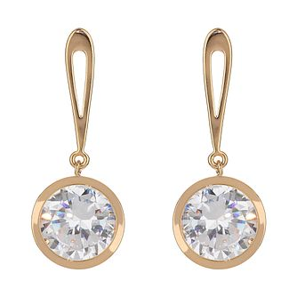 Mikey Gold Tone Round Crystal Drop Earrings - Product number 2166399