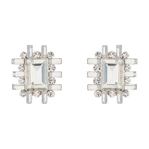 Mikey Large Clear Crystal Cross Design Stud Earrings - Product number 2166674