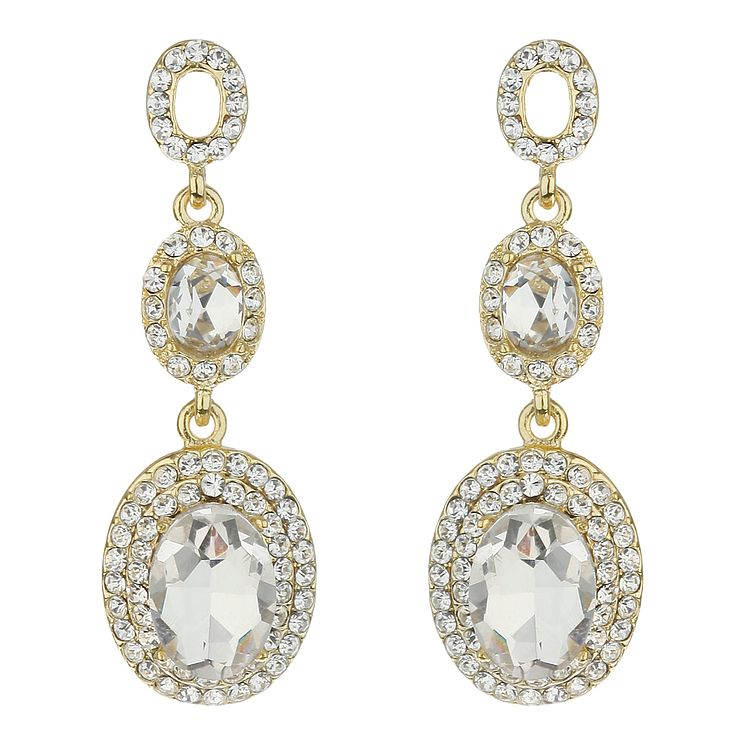 Mikey Clear Oval Crystal Drop Earrings - Product number 2166968