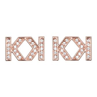 Karl Lagerfeld Swarovski Double K Rose Gold Plated Earrings - Product number 2170388