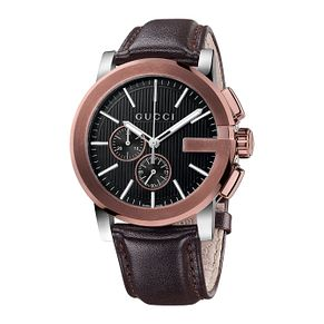 Gucci G Chrono Men's Stainless Steel Leather Strap Watch - Product number 2173786