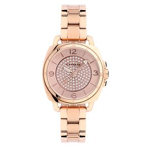 Coach ladies' PVD rose gold-tone pave bracelet watch - Product number 2174812